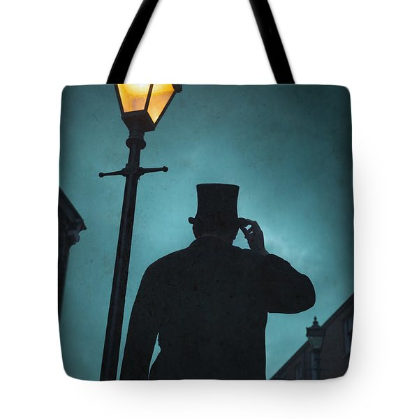 Victorian Man With Top Hat Under A Gas Lamp Tote Bag by Lee Avison
