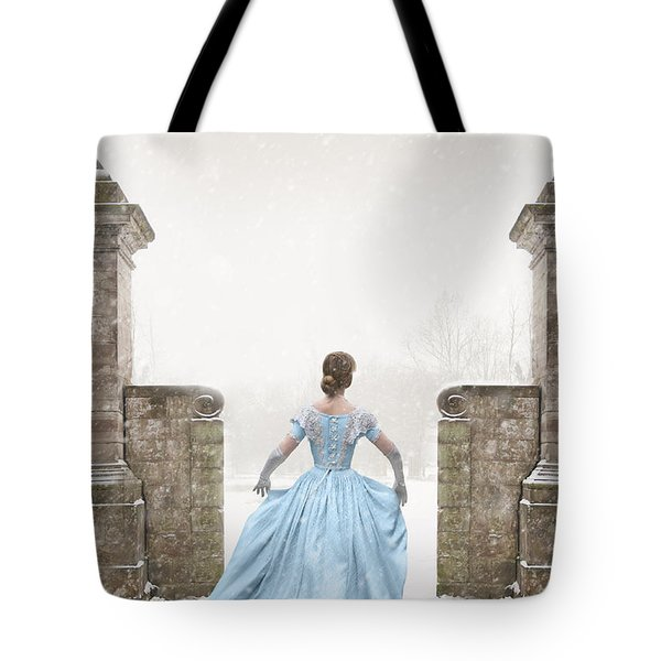 Victorian Woman Running In Snow Tote Bag by Lee Avison