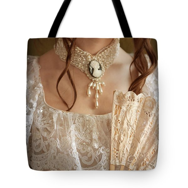 Victorian Woman With A Fan Tote Bag by Lee Avison