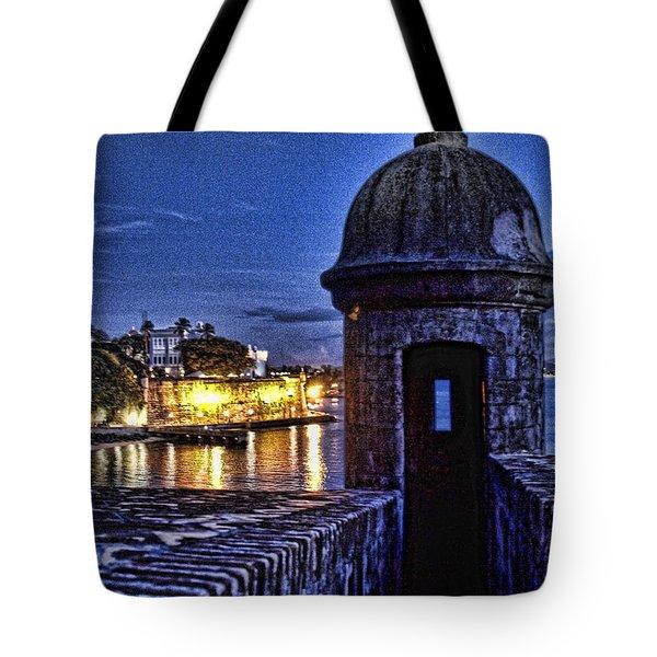 Viejo San Juan En La Noche Tote Bag by Daniel Sheldon