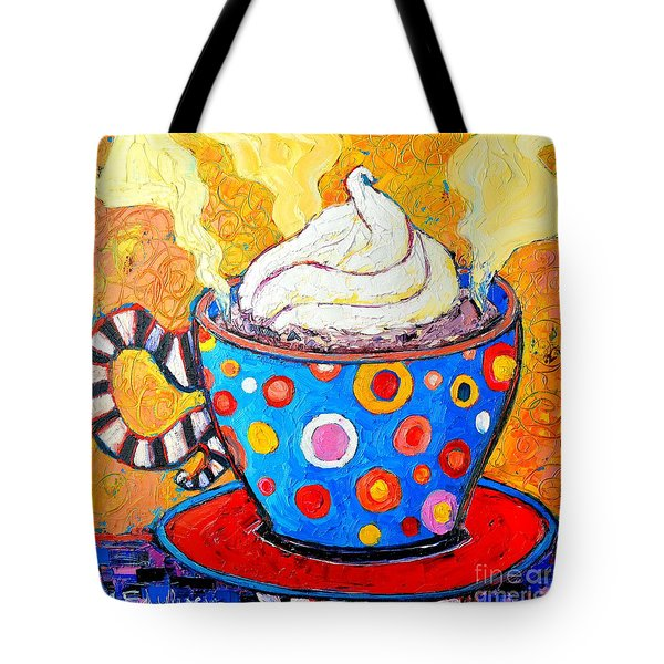 Viennese Cappuccino Whimsical Colorful Coffee Cup Tote Bag by Ana Maria Edulescu