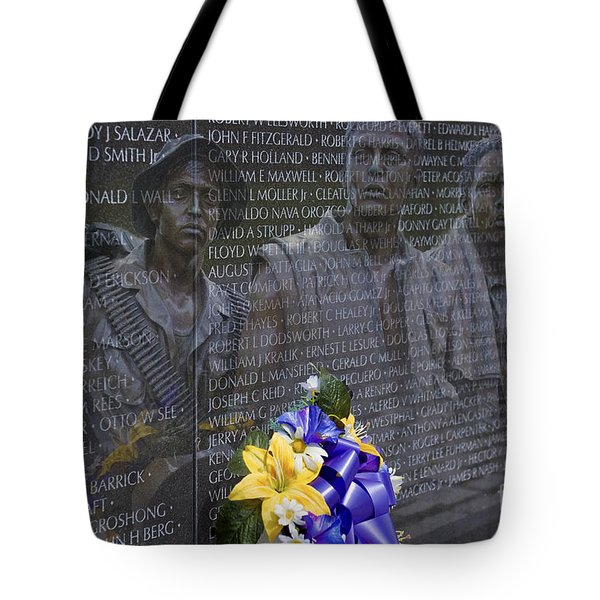 Vietnam Veteran Wall And Three Soldiers Memorial Collage Washington Dc_2 Tote Bag