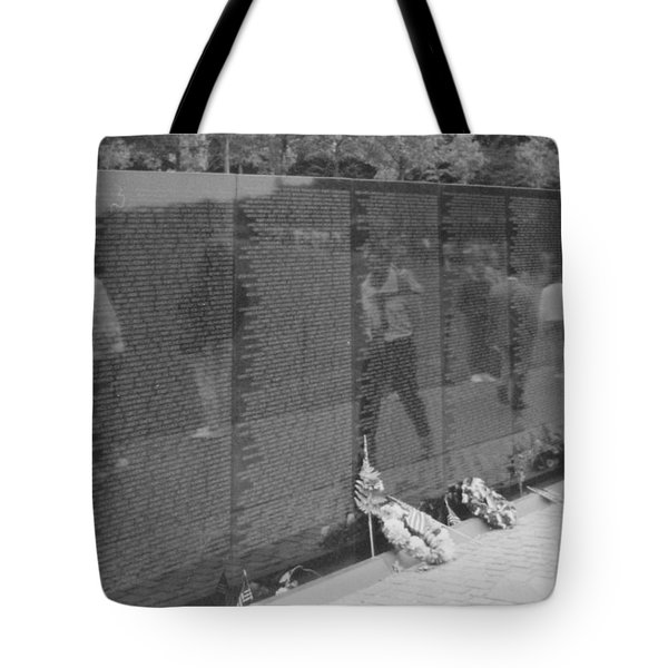Vietnam Wall Reflections Bw Tote Bag by Joann Renner