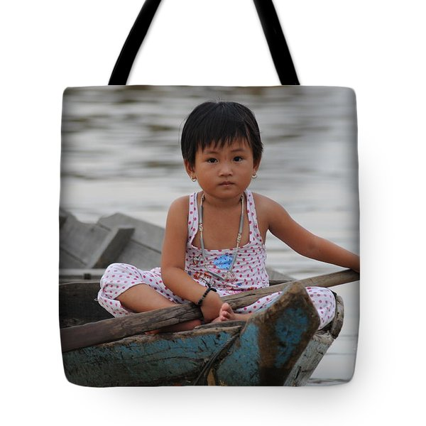 Vietnamese Girl On Lake Tonle Sap Tote Bag