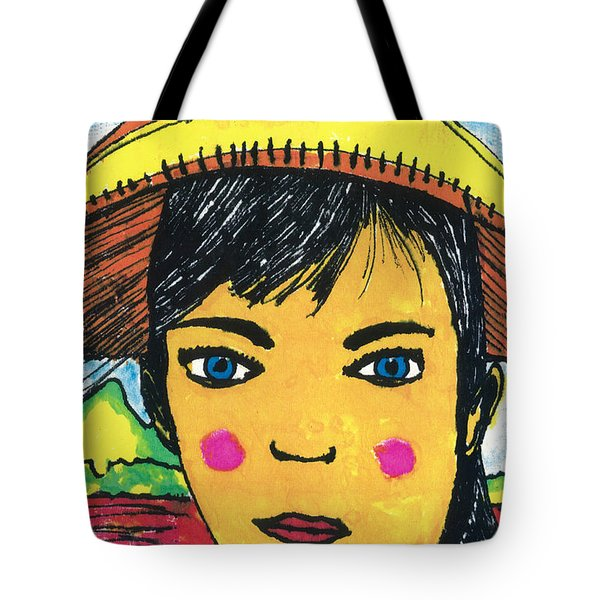 Tote Bag featuring the drawing Vietnamese Girl  With Blue Eyes by Don Koester