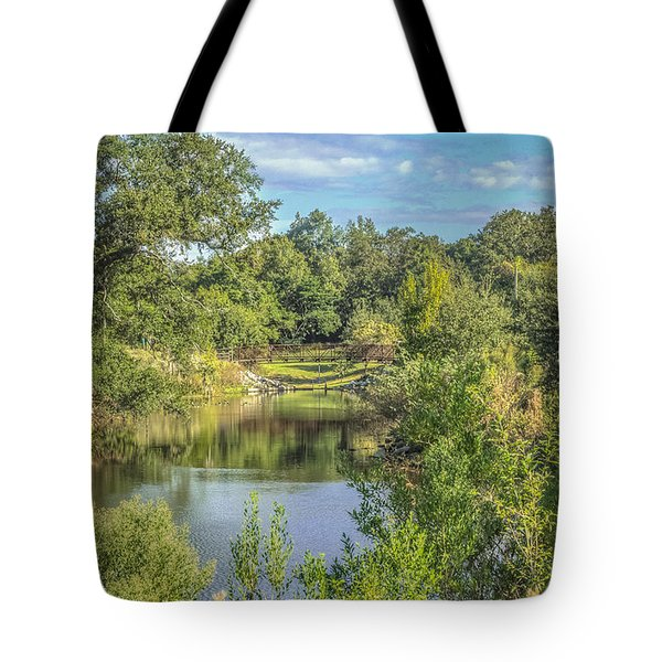 View Down The Creek Tote Bag by Jane Luxton
