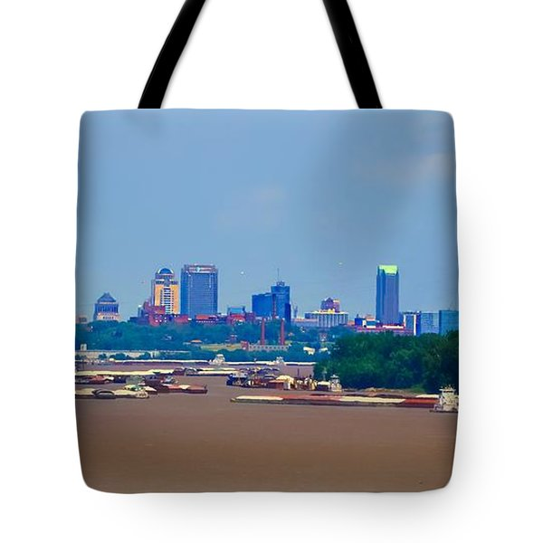 View From A Far St. Louis Downtown Tote Bag by Peggy Franz