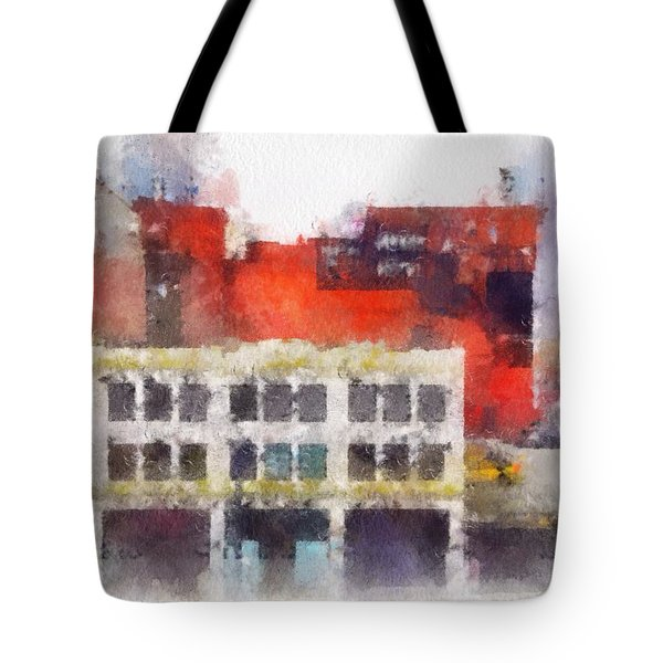 Tote Bag featuring the digital art View From A New York Window by Mark Taylor