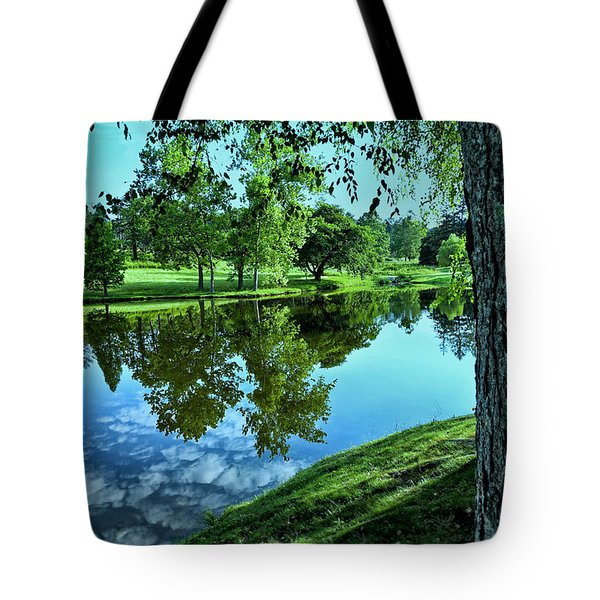 View From Accross The Lake Tote Bag