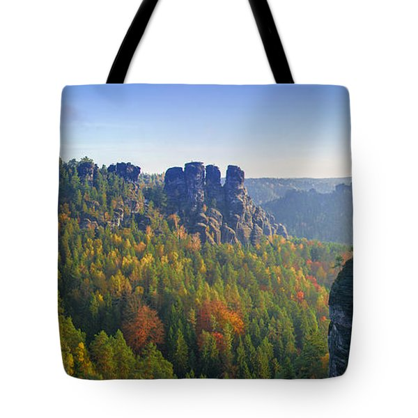 View From The Bastei Bridge In The Saxon Switzerland Tote Bag