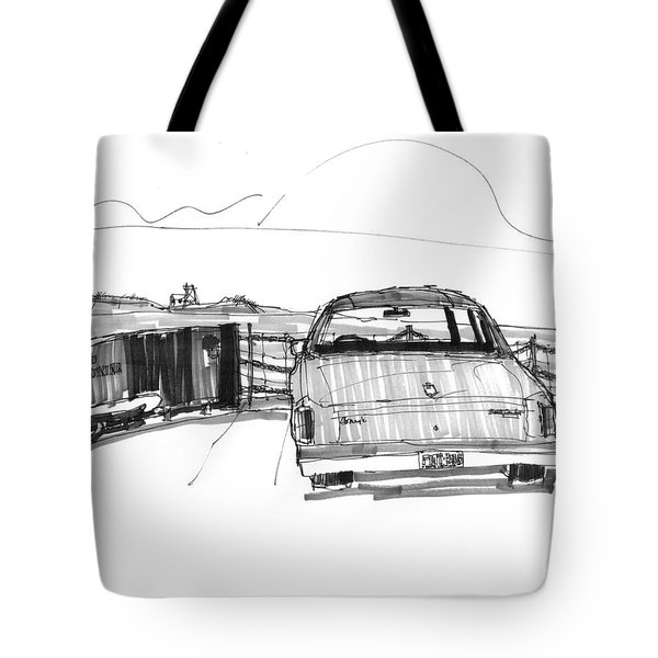 Tote Bag featuring the drawing View From The Hatteras Ferry by Richard Wambach