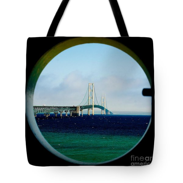 View From The Mackinac Light Tote Bag by Nick Zelinsky