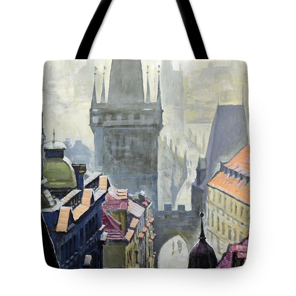 View From The Mostecka Street In The Direction Of Charles Bridge Tote Bag by Yuriy Shevchuk