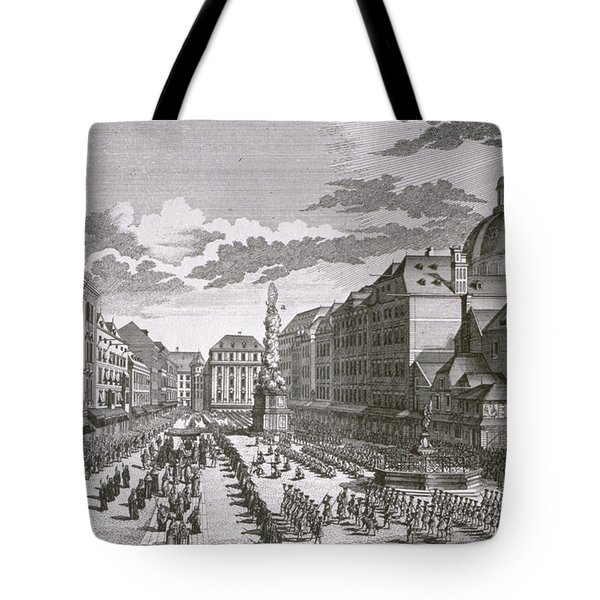 View Of A Procession In The Graben Engraved By Georg-daniel Heumann 1691-1759 Engraving Tote Bag