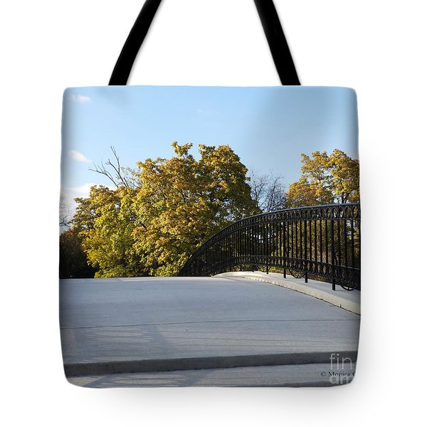 View Of Fall Trees From Footbridge - M Landscapes Fall Collection No. Lf21 Tote Bag