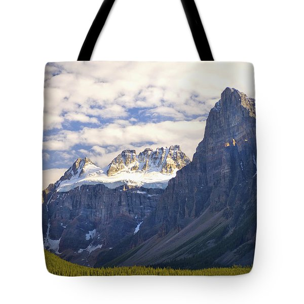 View Of Glacial Mountains And Trees In Tote Bag by Laura Ciapponi