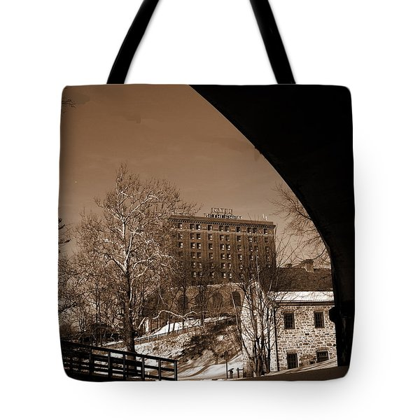 View Of Hotel Bethlehem From Colonial Industrial Quarter - Sepia Tote Bag by Jacqueline M Lewis