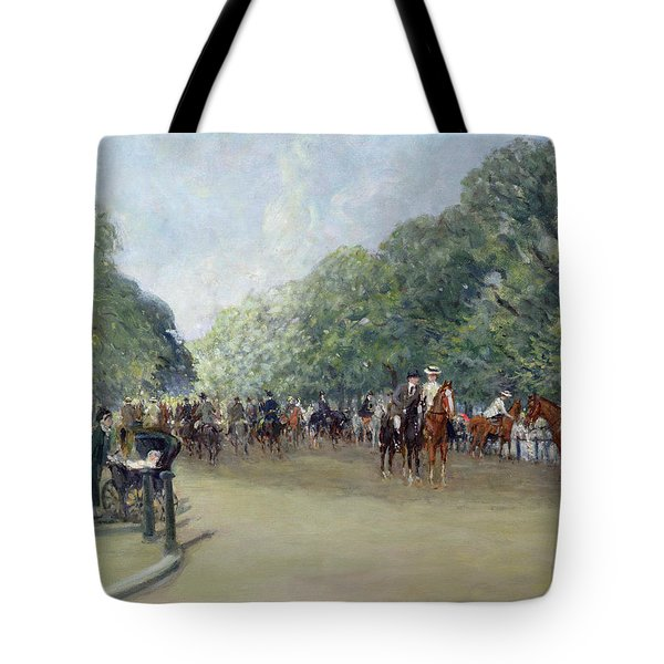 View Of Hyde Park With Figures On Rotten Row  Tote Bag