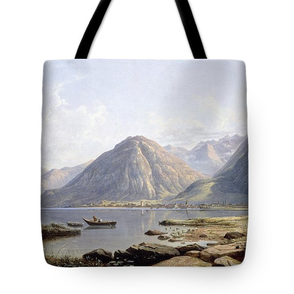View Of Lake Geneva With The Town Of Villeneuve Tote Bag by Francis Danby