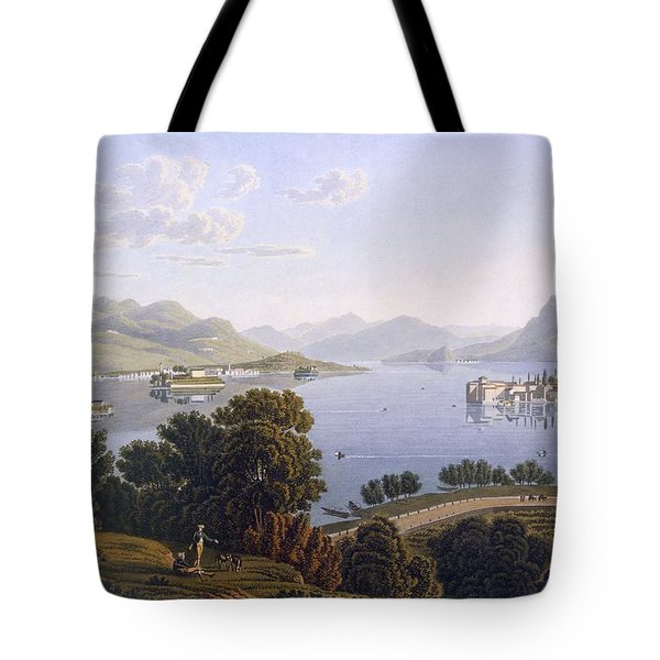 View Of Lake Maggiore And The Borromean Tote Bag by Swiss School