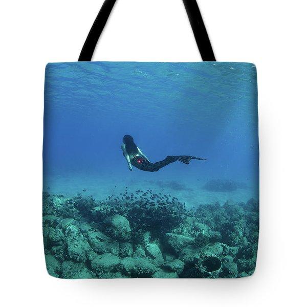 View Of Mermaid Swimming Undersea Tote Bag