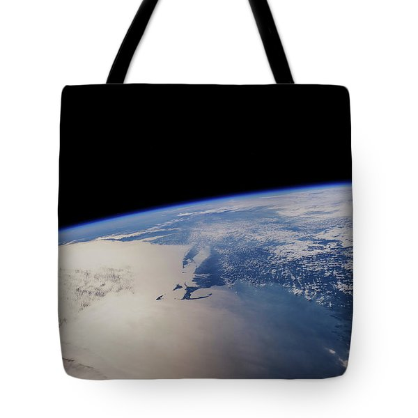 View Of Planet Earth From Space Showing Tote Bag