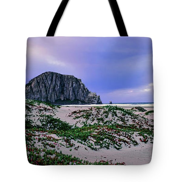 View Of Sand Dunes And The Morro Rock Tote Bag