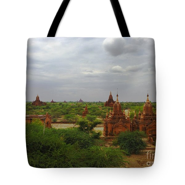 Tote Bag featuring the photograph View Of Smaller Temples Next To Dhammayazika Pagoda Built In 1196 By King Narapatisithu Bagan Burma by Ralph A  Ledergerber-Photography