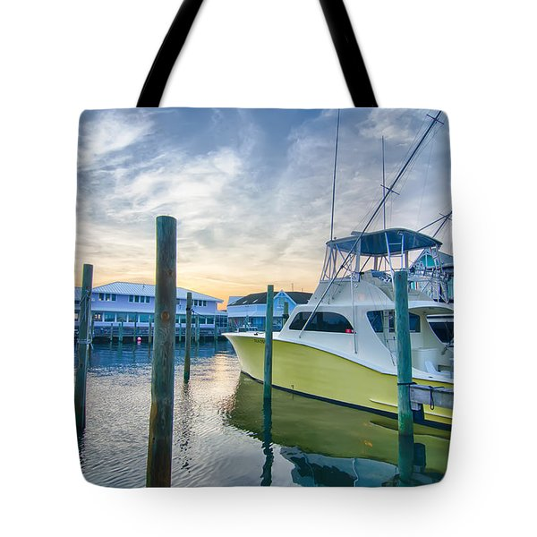 View Of Sportfishing Boats At Marina Tote Bag