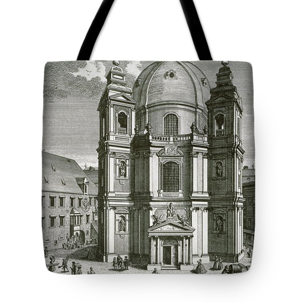 View Of The Peterskirche, Vienna Engraved By Johann Bernard Hattinger Tote Bag