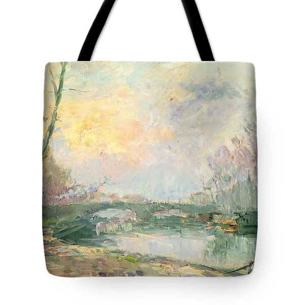 View Of The Seine Paris Tote Bag by Albert Charles Lebourg
