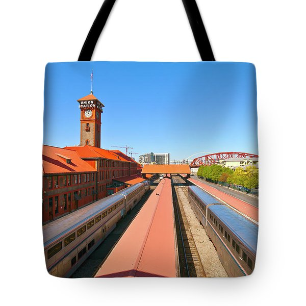 View Of Trains At Railroad Station Tote Bag