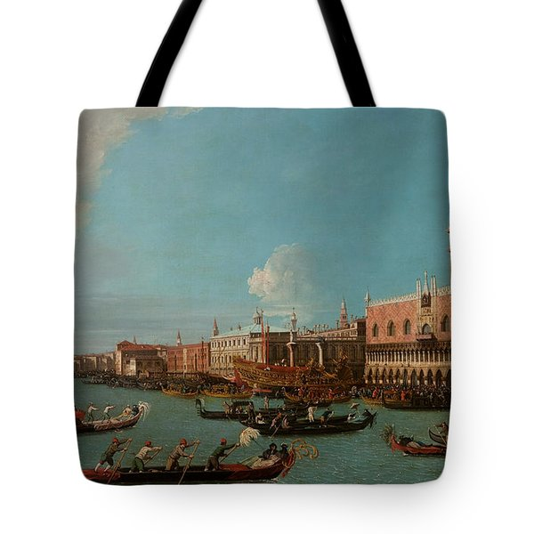 View Of Venice With The Doge Palace And The Salute Tote Bag by Canaletto