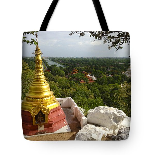 Tote Bag featuring the photograph View Over Ancient City Of Mandalay Aungmyaythazan From Mandalay Hill Mandalay Burma by Ralph A  Ledergerber-Photography
