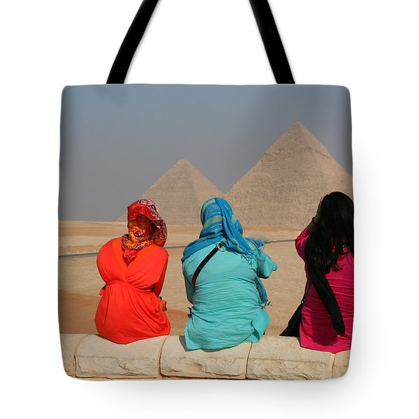 Tote Bag featuring the photograph Viewing The Pyramids by Laurel Talabere
