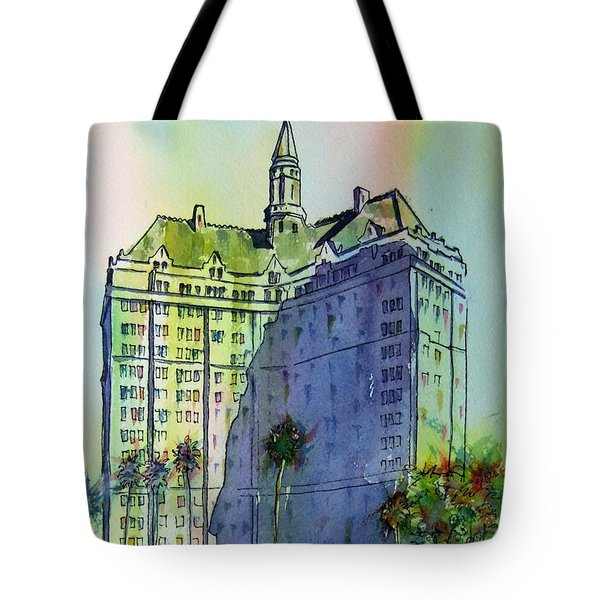 Tote Bag featuring the painting Villa Riviera Shadows by Debbie Lewis