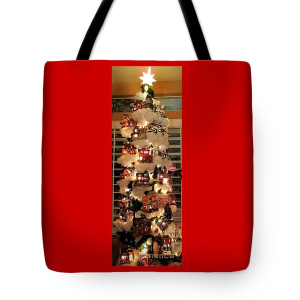 Village Christmas Tree Tote Bag by Randall Weidner
