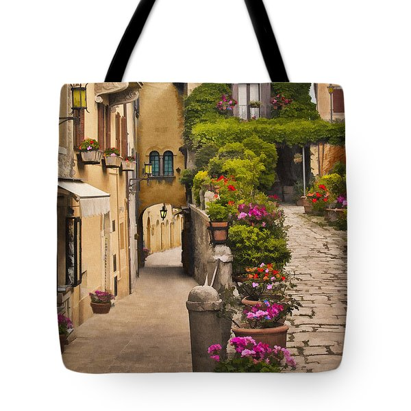 Village Flowers Tote Bag by Sharon Foster