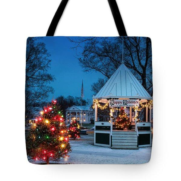 Village Green Holiday Greetings- New Milford Ct - Tote Bag