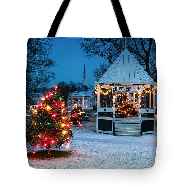 Village Green Holiday Greetings- New Milford Ct - Tote Bag