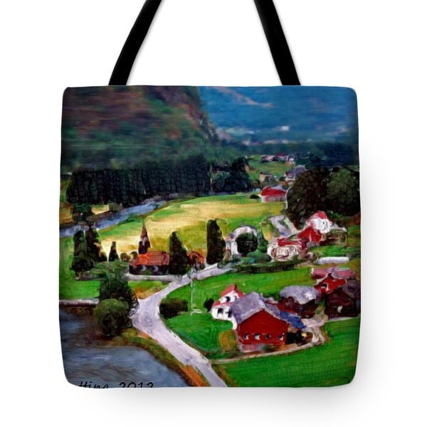 Tote Bag featuring the painting Village In The Mountains by Bruce Nutting