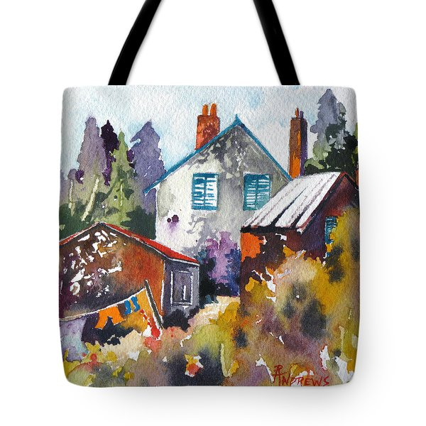 Tote Bag featuring the painting Village Life 1 by Rae Andrews