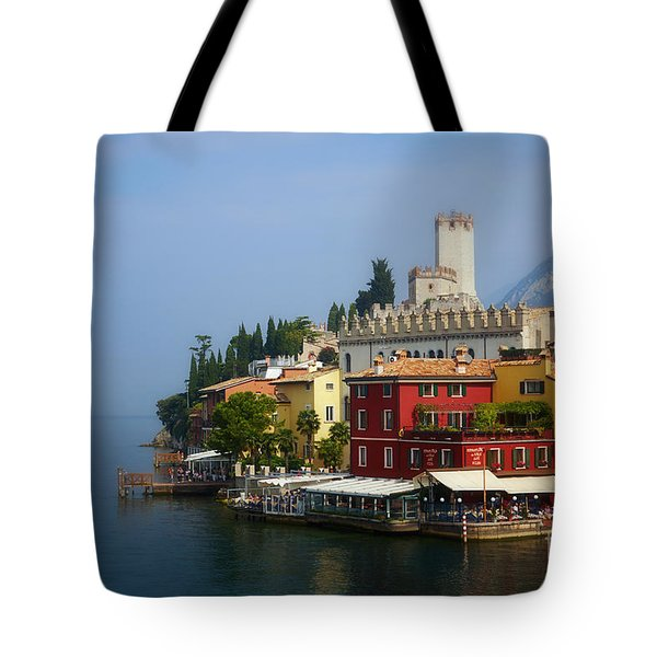 Village Near The Water With Alps In The Background  Tote Bag