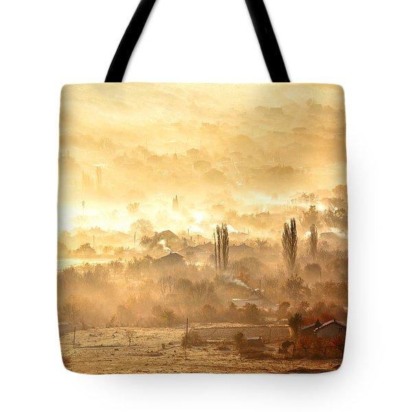 Village Of Gold Tote Bag by Evgeni Dinev