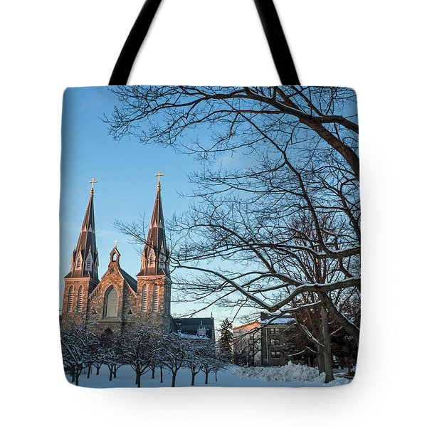 Villanova Winter Saint Thomas Tote Bag by Photographic Arts And Design Studio