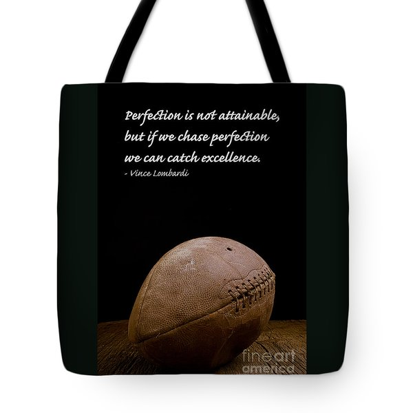 Vince Lombardi On Perfection Tote Bag by Edward Fielding