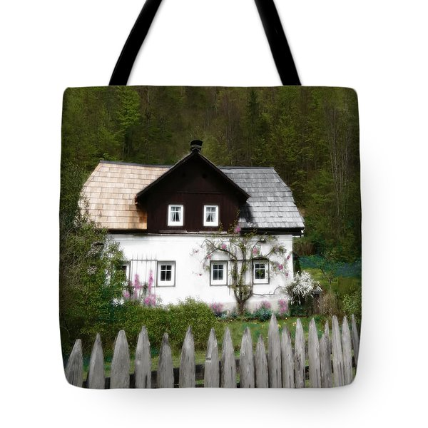 Vine Covered Cottage With Rustic Wooden Picket Fence Tote Bag