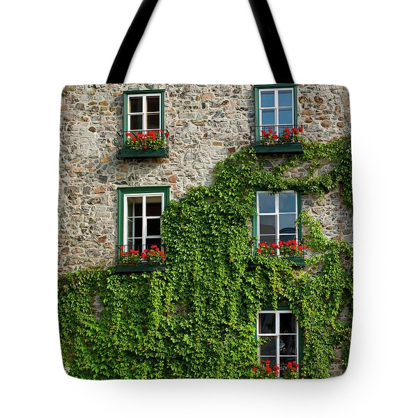 Vine Covered Stone House And Windows Tote Bag