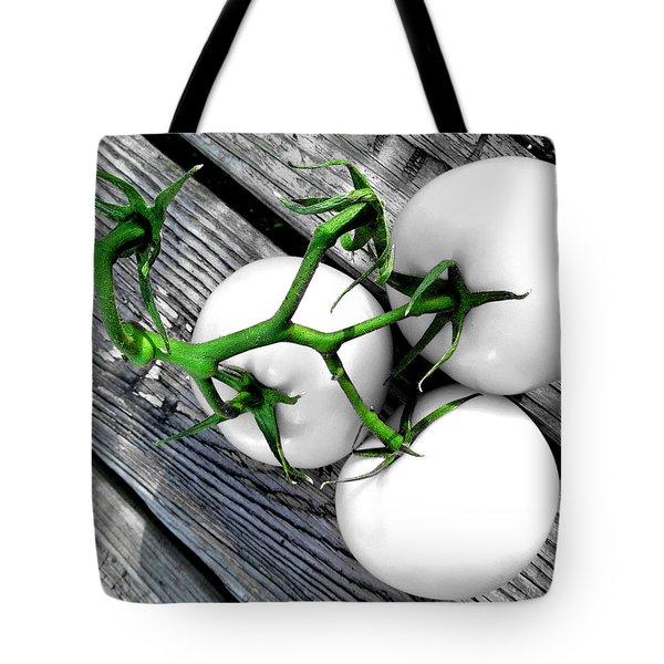 Vine Ripened Trio - Glossy White Tote Bag by Shawna Rowe