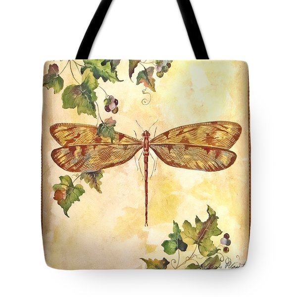 Vineyard Dragonfly Tote Bag by Jean Plout